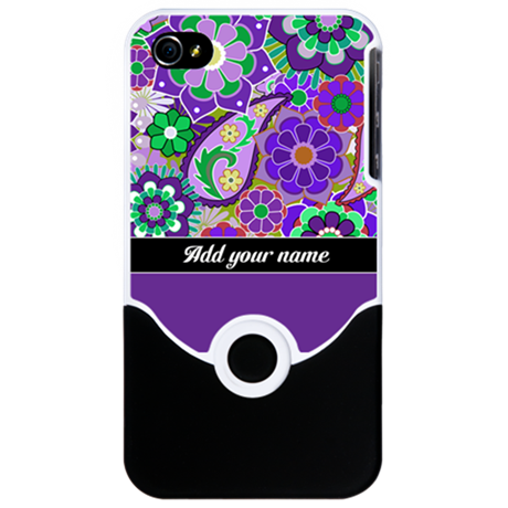 Funky Flowers - ADD NAME iPhone 4 Slider Case