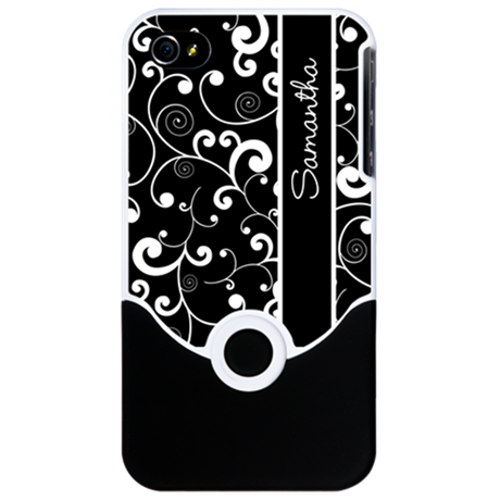 Elegant Black and White Scroll Pattern iPhone Case