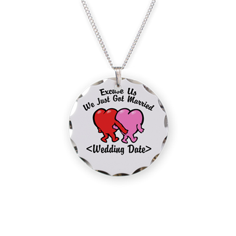 Funny Just Married (Add Wedding Date) Necklace Cir