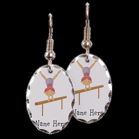 gymnast on beam Earring Oval Charm