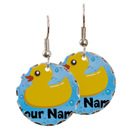 Personalized Rubber Ducky Earring Circle Charm