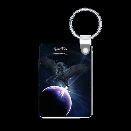Black Pegasus Aluminum Photo Keychain