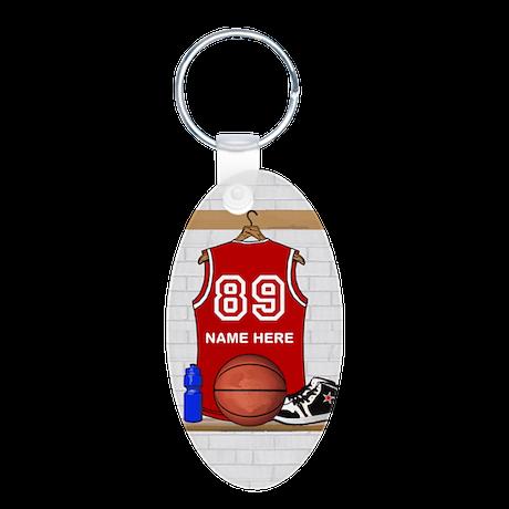 Personalized Basketball Jerse Aluminum Oval Keycha