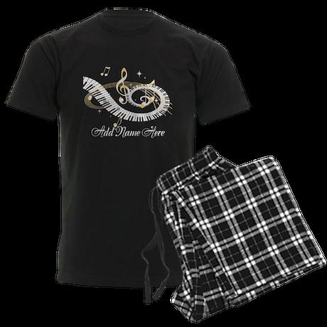 Personalized Piano Musical gi Men's Dark Pajamas