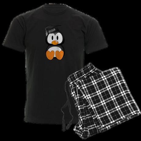 Custom Graduation Penguin Men's Dark Pajamas