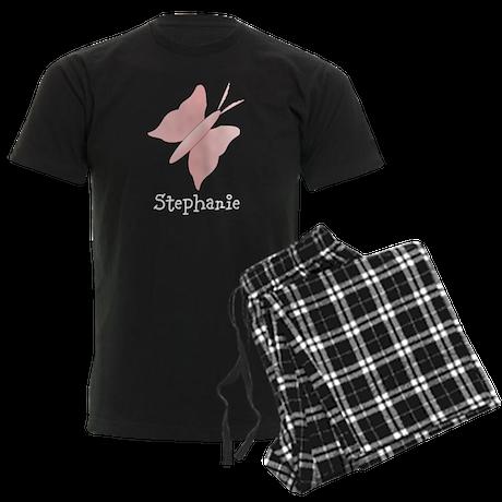 Pink Butterfly Design Men's Dark Pajamas