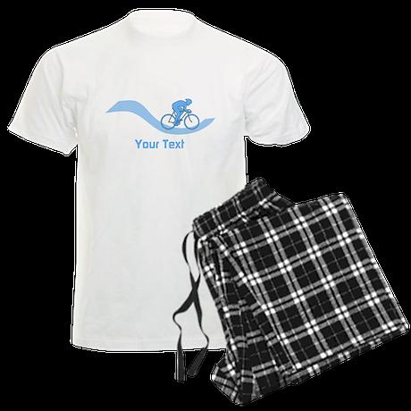 Cyclist in Blue. Custom Text. Pajamas