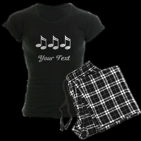 Music Notes Personalized Women's Dark Pajamas