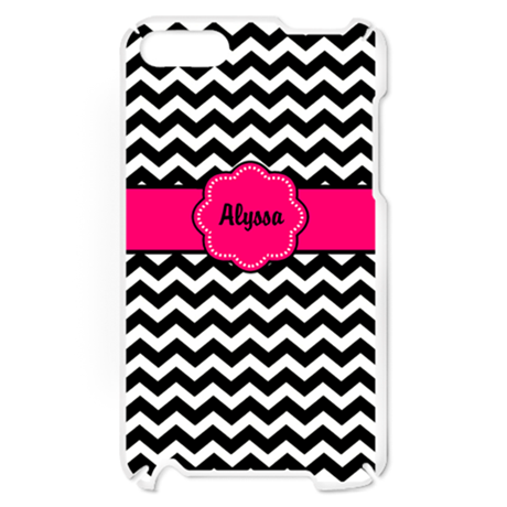 Hot Pink Black Chevron Personalized iPod Touch Cas