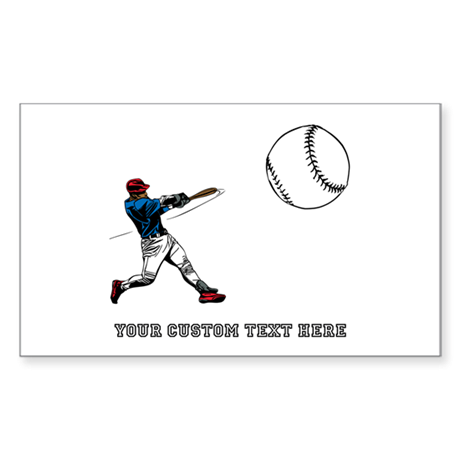 Baseball Player with Custom Text Sticker (Rectangl