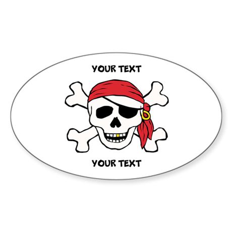 PERSONALIZE Funny Pirate Sticker (Oval)
