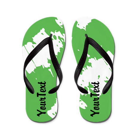 CUSTOMIZE Abstract White and Green Flip Flops
