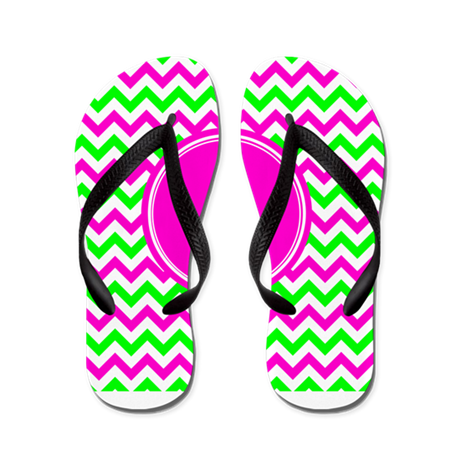 Pink Green Monogram Chevron Flip Flops