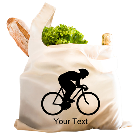 Cyclist Silhouette with Text. Reusable Shopping Ba