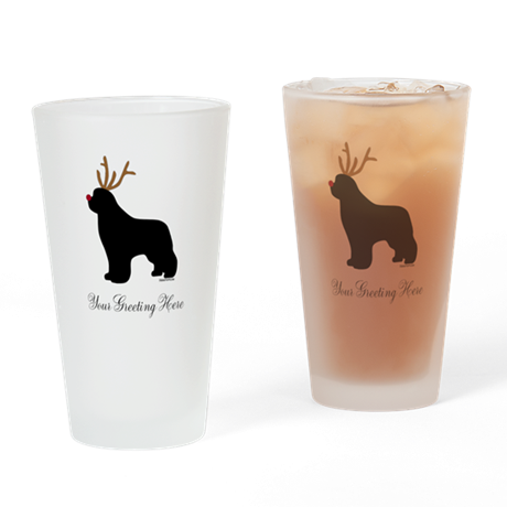 Reindeer Newf - Your Text Drinking Glass