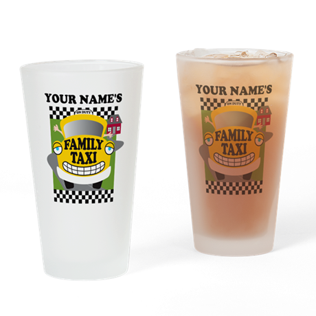 Personalized Family Taxi Drinking Glass