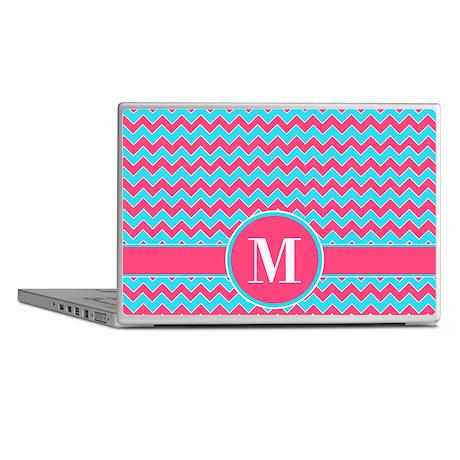 Chevron Pattern Aqua Blue and Pink Laptop Skins