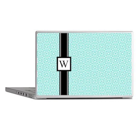 Aqua Black Squares Monogram Laptop Skins