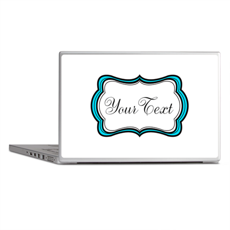 Personalizable Teal Black White Laptop Skins