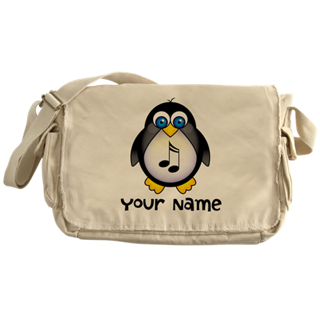Personalized Music Penguin Messenger Bag