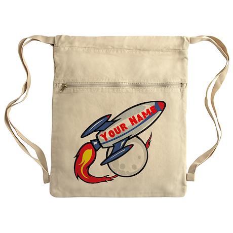Personalized rocket Cinch Sack