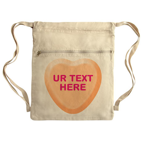 Orange Candy Heart Personalized Cinch Sack