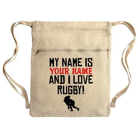 My Name Is And I Love Rugby Cinch Sack