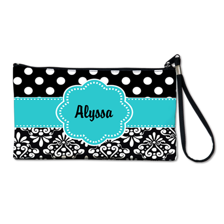 Black Teal Dots Damask Personalized Clutch Bag