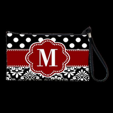 Red Black Dots Damask Monogram Clutch Bag