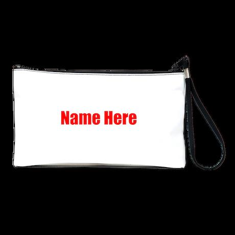Red Custom Name Text. Clutch Bag