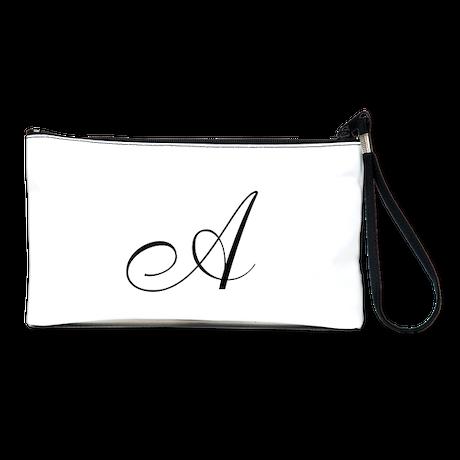 monogram A in black Clutch Bag