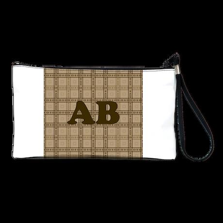 Monogram Brown Plaid Style Pattern Clutch Bag