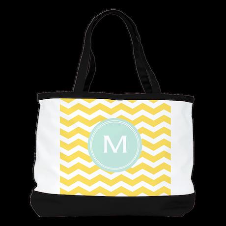 Monogram yellow chevron Shoulder Bag