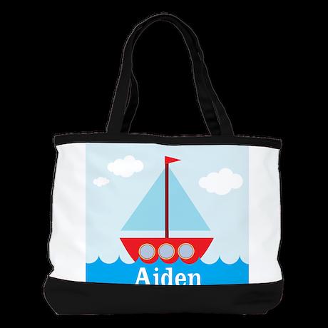 Personalizable Sailboat in the Sea Shoulder Bag