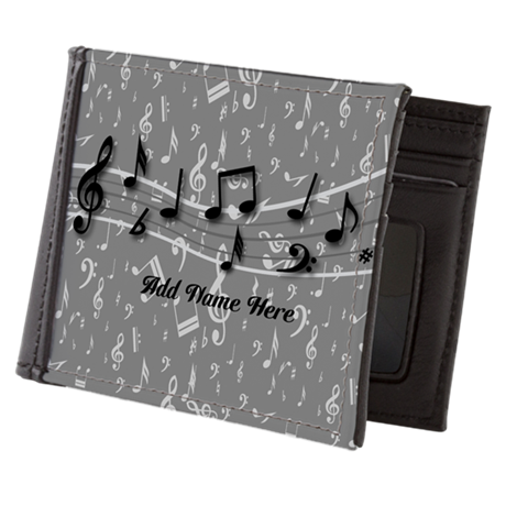 Personalized Grey black musical notes Mens Wallet