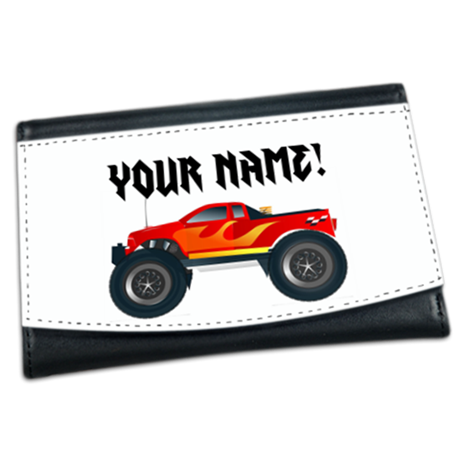 Red Monster Truck Personalized Mini Wallet