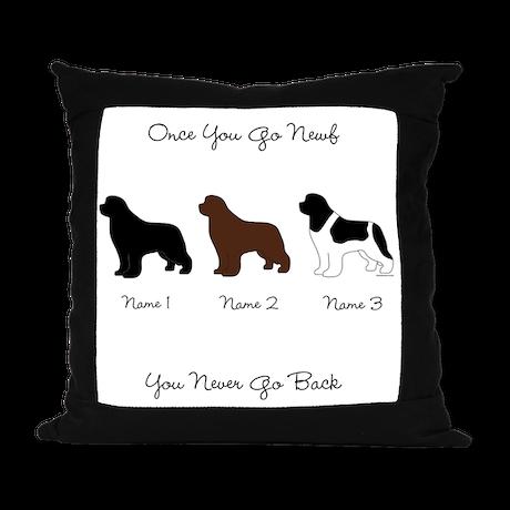 3 Newfs - Black, Brown, Landseer Suede Pillow