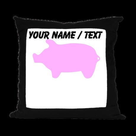 Custom Pink Piggy Silhouette Suede Pillow