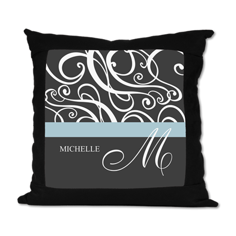 Elegant Grey White Swirls Monogram Suede Pillow