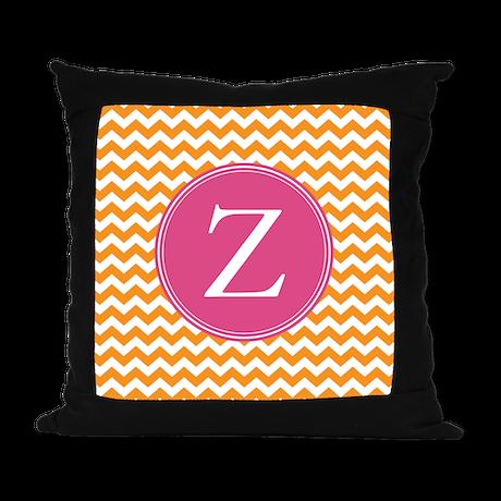 Hot Pink Orange Monogram Suede Pillow