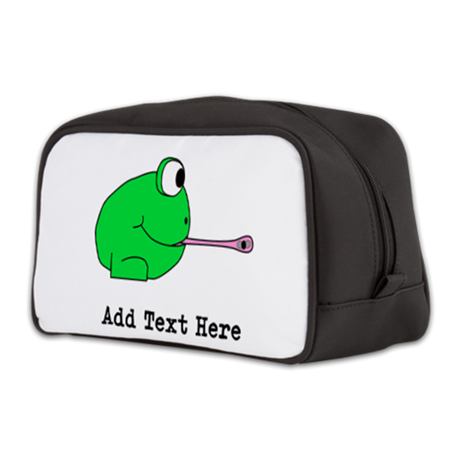 Frog with Fly. Custom Text Toiletry Bag