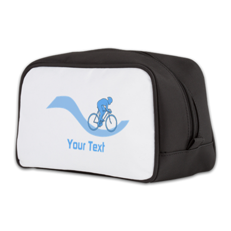 Cyclist in Blue. Custom Text. Toiletry Bag