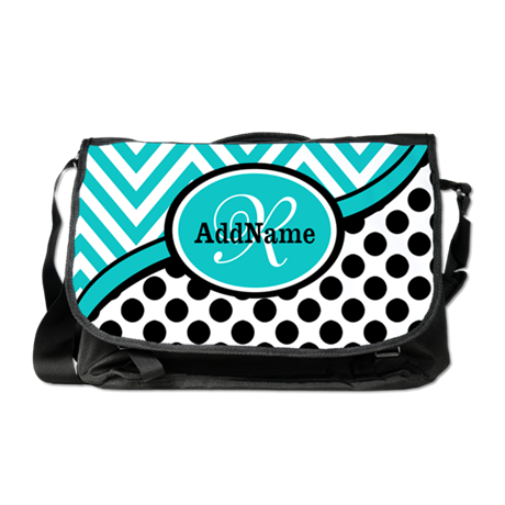 Teal Chevron Black Dots Monogram Messenger Bag