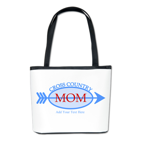 Cross Country Mom Blue Text Bucket Bag
