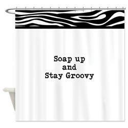 white zebra shower curtain with funny stay calm text