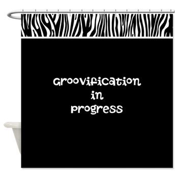Groovification in progress zebra shower curtain