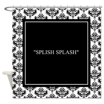 splish splash silent movie title card fun shower curtain