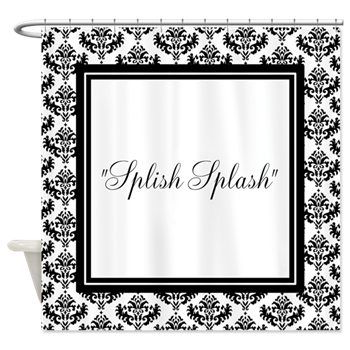 black and white splish splash text shower curtain