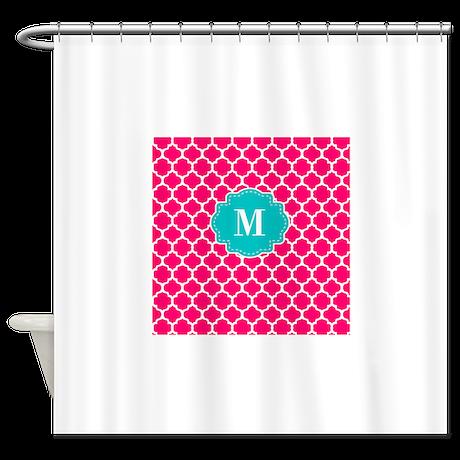 Pink teal quatrefoil monogram shower curtain for Quatrefoil bathroom decor