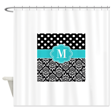 Teal black damask dots personalized shower curtain by for Teal and black bathroom accessories
